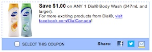 Dial Body Wash Coupon - Save $1 on any dial body wash