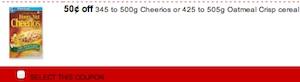 Cheerios Coupon  - Save $0.50 on Cheerios or Oatmeal Crisp
