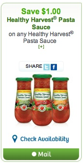 Healthy Harvest Pasta Sauce Coupon Save $1