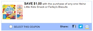 Heinz Coupon - Save $1 on Little Kids Snacks or Farley Biscuits