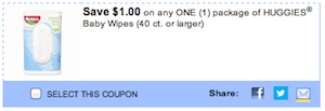 Huggies Baby Wipes Coupon Save $1 printable coupon