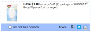 Huggies Coupon for Huggies Baby Wipes Save $1