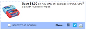 Huggies Pull-ups Flushable Wipes Coupon Save $1