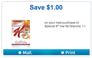Kellogg's Special K Low Fat Granola Cereal Coupon - Save $1
