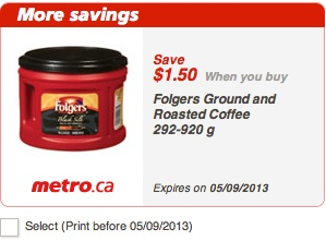 Folgers Coupon - Save $1.50 Metro printable coupon