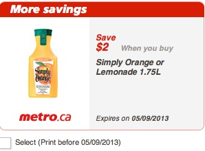 Simply Orange Printable Coupon Save $2 at Metro