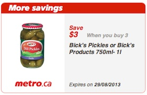 Metro Coupons Save $3 on 3 Bicks Products