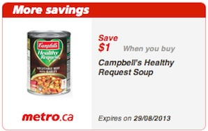 Metro Couopns Save $1 on Campbells Healthy Request Soup