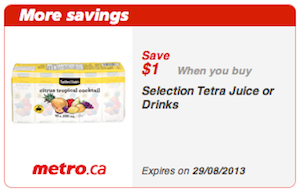 Selection Tetra Juice Printable Coupon Save $1