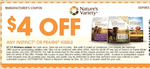 Nature's Variety Save $4 instinct or Prairie Kibble