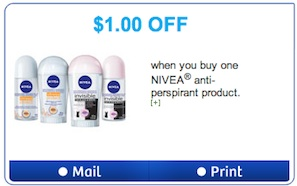 Nivea Anti-perspirant Coupon Save $1
