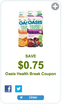 Oasis coupon - Save $0.75 Oasis Health Break Juice