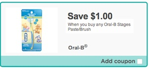 Oral-B Stages Toothbrush/paste Coupon Save $1