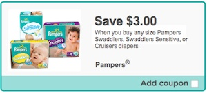 Save $3 on Pampers Swaddlers, Pampers Cruisers