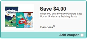 Pampers coupon - Save $4 on Pampers Easy ups or Underjams training pants