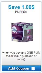 Puffs coupon - Save $1 Puffs Facial Tissue
