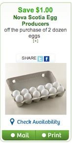 Egg coupon - Save $1 on 2 dozen eggs in NS