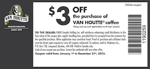 Van Houtte Coffee Printable Coupon Save $3