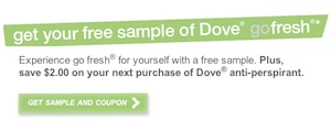 Dove Antiperspirant Deodorant Coupon Save $1 Free Sample