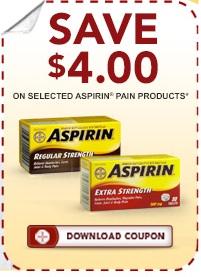 Aspirin Coupon - Save $4 on Aspirin products pain relief
