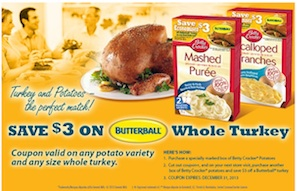 Butterball Coupon - Save $3 WUB Betty Crocker Potatoes