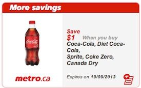 Coke Coupon - Save $1 on Coca-Cola and Canada Dry coupon