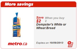 Dempster's Coupon Save $2 on 2 Dempster's White or Wheat bread