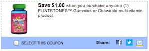 Flinstones Multi-Vitamin Coupon - Save $1 on Flinstones Gummy vitamins