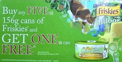 Friskies Cat Food 156g can Coupon - Buy 5 Get 1 can free