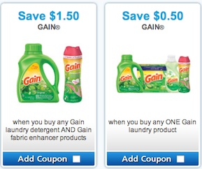 Gain Coupon Save $1.50 and Save $0.50 on Gain Laundry