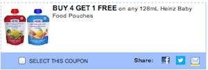 Heinz Coupon - Buy 4 get 1 free Heinz Baby food pouches