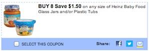 Heinz Coupon - Save $1.50 on 8 Heinz Baby Food Glass Jars
