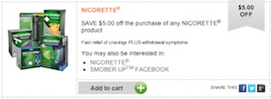 Nicorette Coupon - Save $5 on any Nicorette product