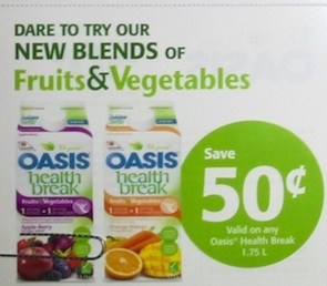 Oasis Coupon - Save $0.50 Oasis Health Break Fruits & Vegetables