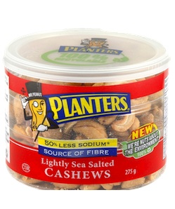 Planters Lightly Sea Salted Cashews Save $1 with SnapSaves Coupon App