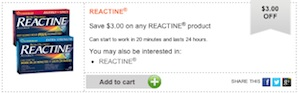 Reactine Coupon Save $3 on Reactine Allergy product