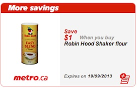 Robin Hood Shaker Flour Coupon Save $1 metro only
