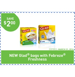Glad Coupon - Save $2 on Glad Garbage Bags 2014