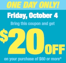 Shoppers $20 off $60 coupon Oct 4, 2013