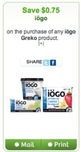 Iogo Greko Yogurt Coupon Save $0.75