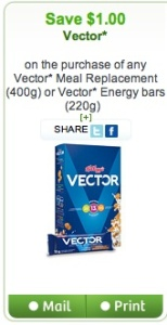 Vector Coupon - Save $1 on Vector Cereal and Bars Mail and Printed Coupon