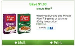 Minute Rice Coupon - Save $1 on Minute Rice Products Canada