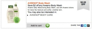 Aveeno coupon Save $2 on Aveeno Body Wash