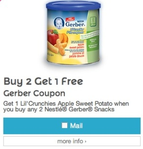 Gerber Coupon save on Gerber Snacks