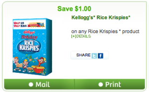 Rice Krispies Save $1 on any product
