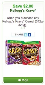 Krave Coupon - Save $2 on Kellogg's Krave Cereal Canada