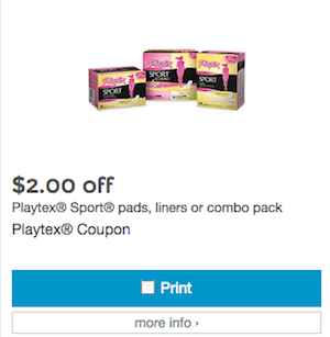 Playtex Coupon Playtex Sports Pads 2015